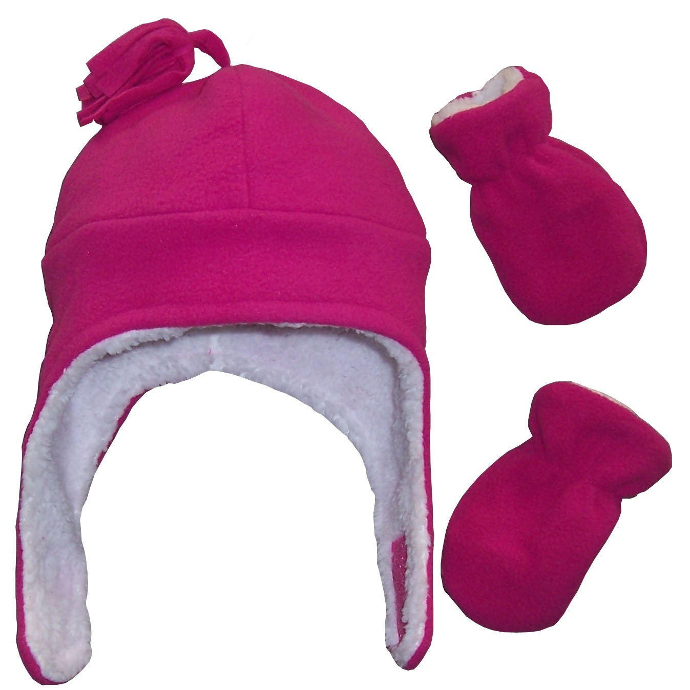 N'Ice Caps Girls Soft Sherpa Lined Micro Fleece Pilot Hat and Mitten Set 2753-SHG