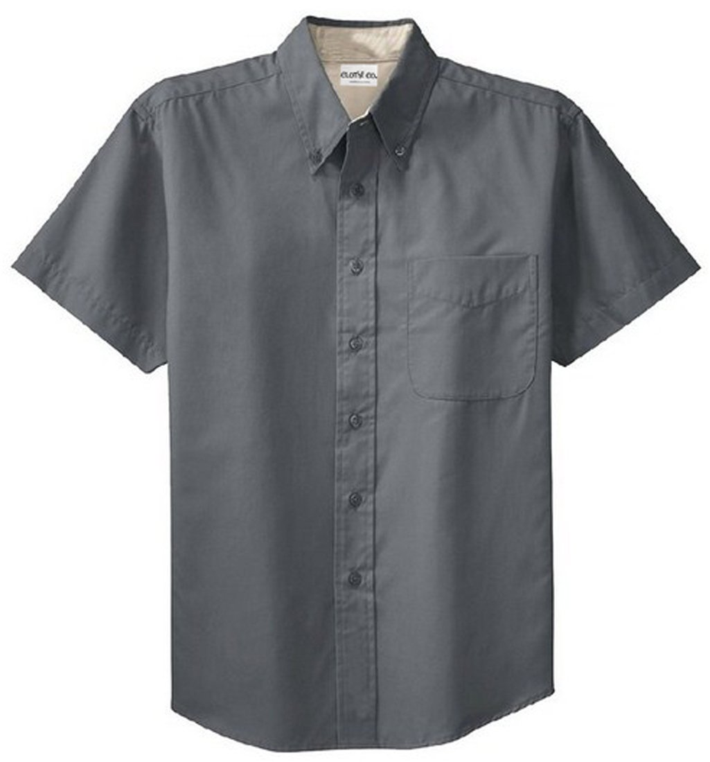 Clothe Co. Mens Big & Tall Short Sleeve Wrinkle Resistant Easy Care Button Up Shirt, Steel Grey/Light Stone, 2XLT