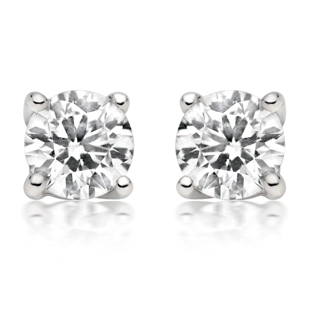 1/4Ct Tw Diamond Stud Earring in 14K White Gold (White), White, Size No Size by JewelMore