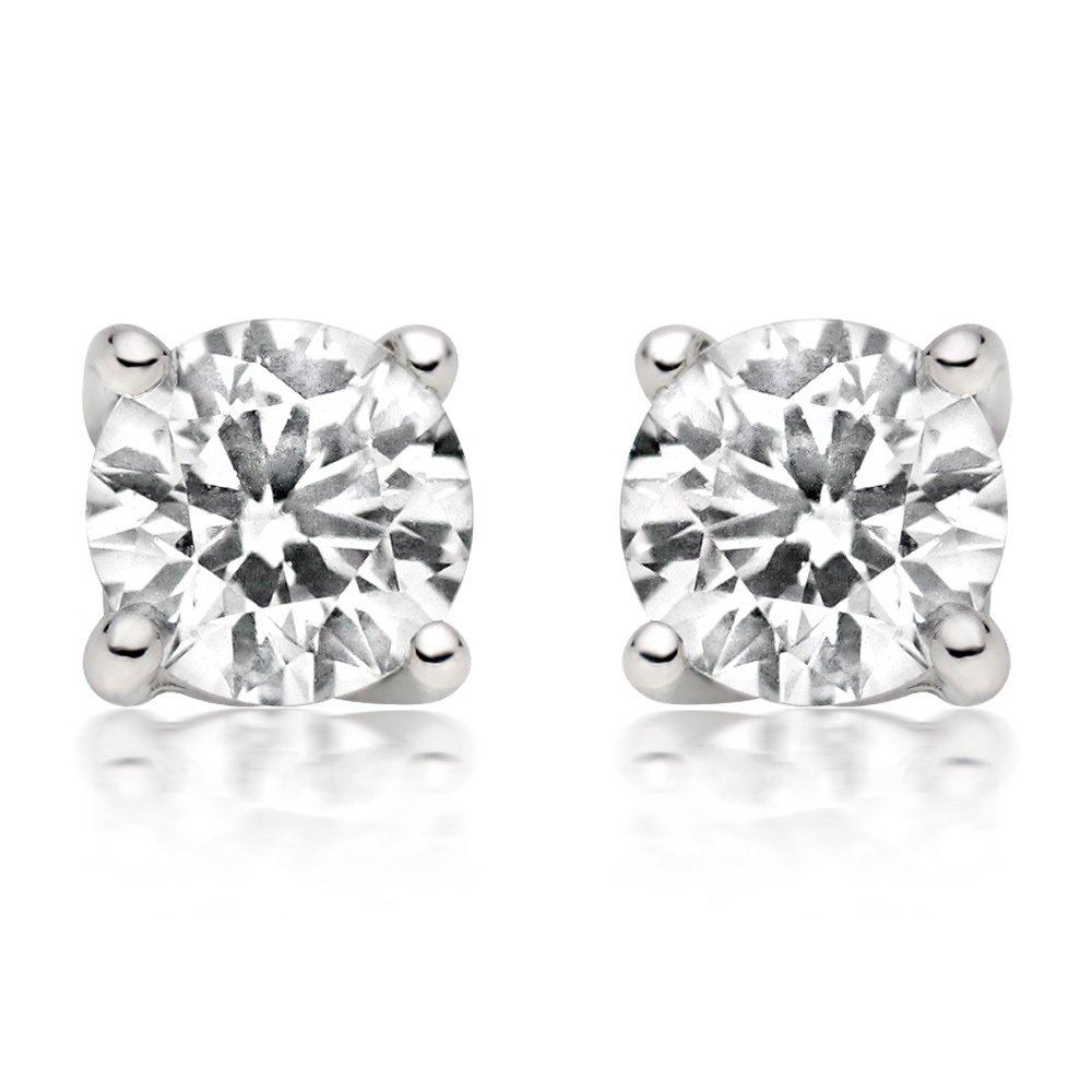 1/4ct tw Diamond Stud Earring in 14k White Gold (White)