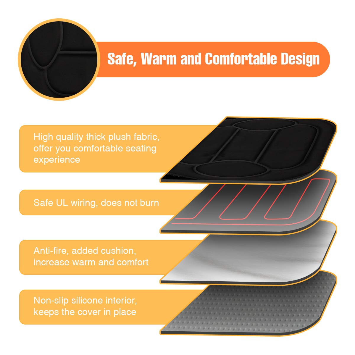 Heated Car Seat Black Tvird 12V Car Heated Seat Cover Heated Pad Cushion Winter Warmer Cover