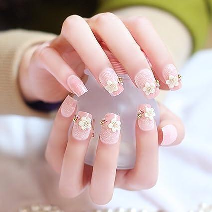 aukmla boda uñas postizas con pegamento y doble cara adhesivo flores artificiales Uñas Oval cara sonriente