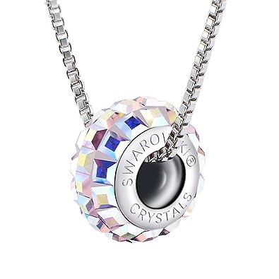Pendentif en argent en forme de roue et avec un cristal irisé de Swarovski