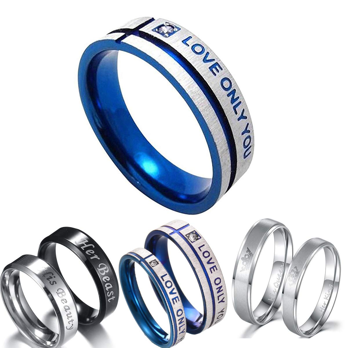 c353c90406bf3 Hsumonre Couples Rings Engraved Her King His Queen Matching Men Promise  Ring Crown Stainless Steel Valentine Gift