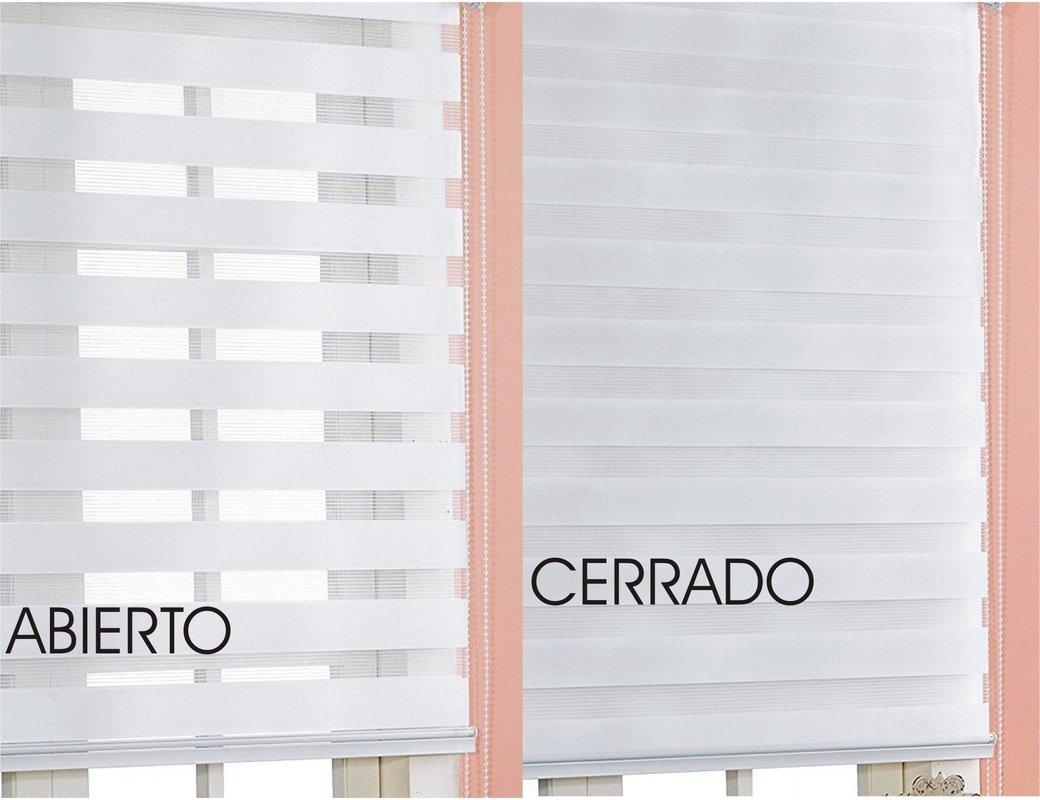 Estor noche y día enrollable PREMIUM (desde 40 hasta 250cm de ancho) con cajón de ALUMINIO blanco tejido color lino. Medida 76cm x 160cm para ventanas y ...