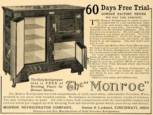 1906 Ad Monroe Refrigerator Home Appliances Cincinnati - Original Print - Cincinnati Monroe