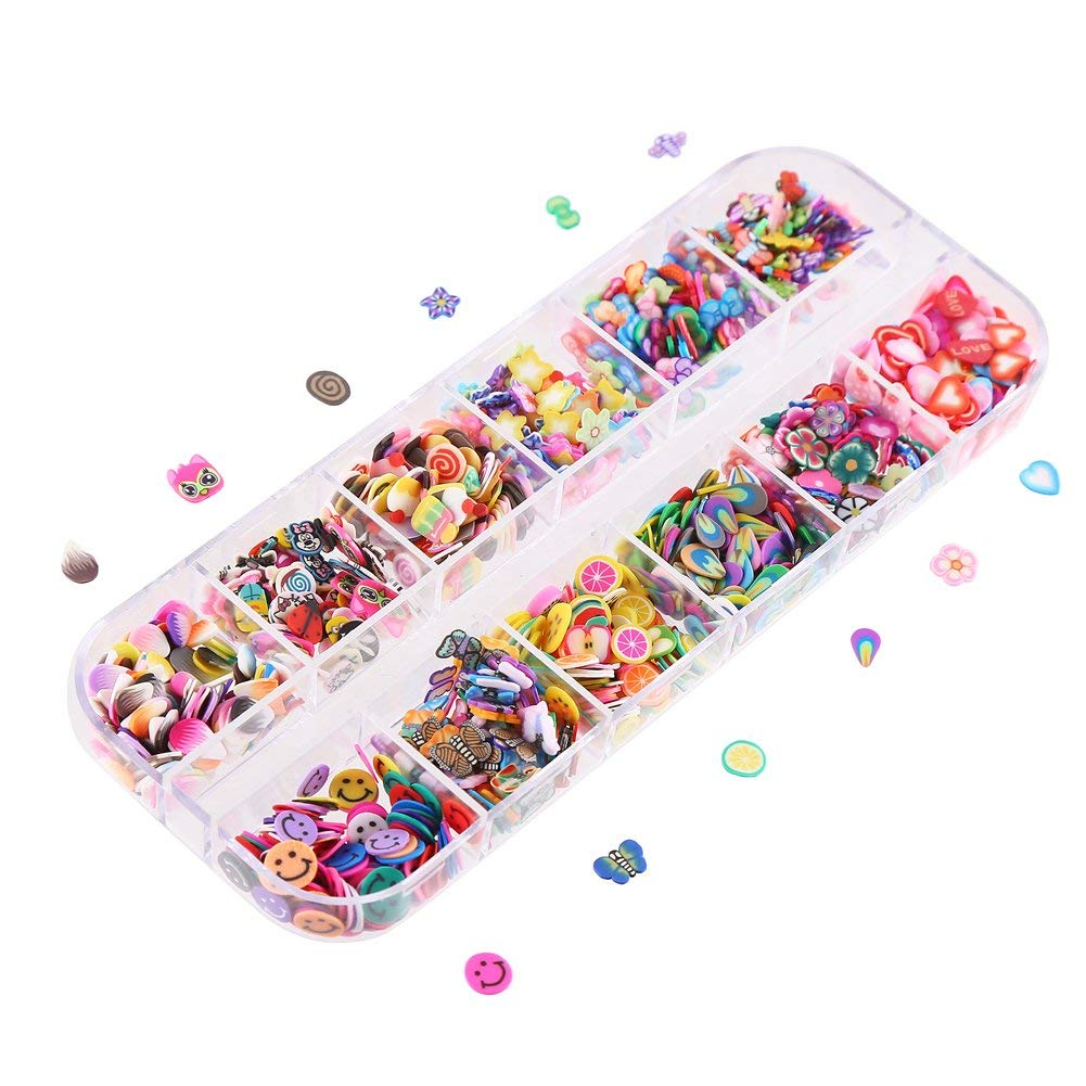 CCINEE Nail Art Slice with Fruit Flower Food Slice Assorted Designs Polymer Clay Nail Decoration Slice for Slime DIY Craft Projects Decoration