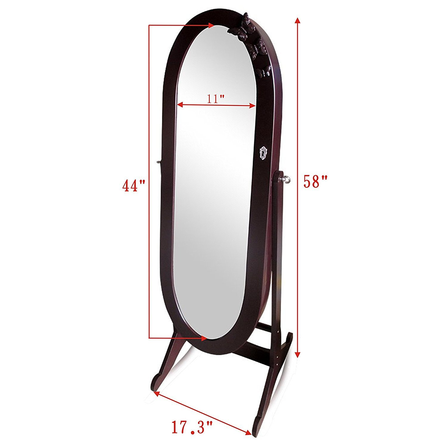 Organizedlife Brown Luxury Full Length Adjustable Mirror Oval Jewelry Armoire Cabinet with Drawers by Organizedlife (Image #7)