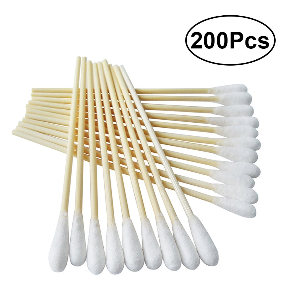 Frcolor Cotton Swabs with Wooden Handles Cotton Tipped Applicator, 6 Inch, Pack of 200