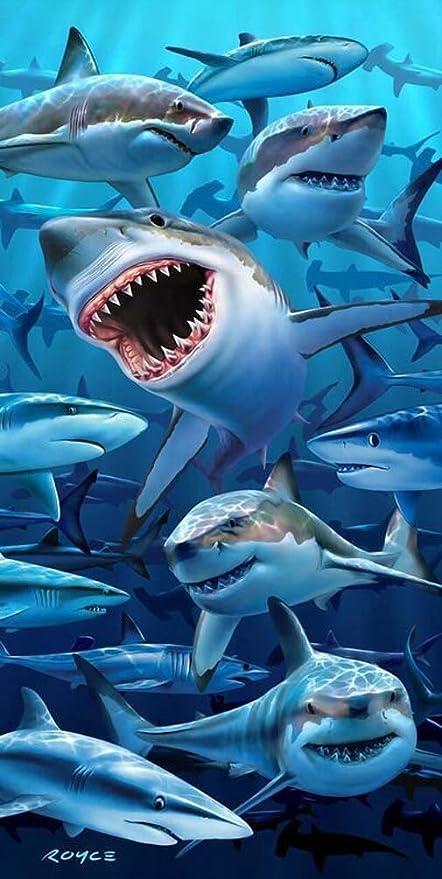 """Toallas de playa Mar hambre tiburones – tiburones playa piscina toalla 30 """" ..."""