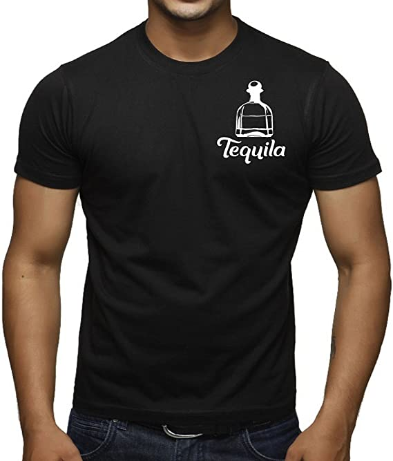 Interstate Apparel Inc Men's Tequila Bottle Chest V542 Black T-Shirt Black
