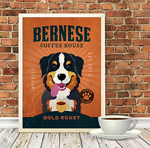 Mountain Dog Watercolor - Bernese Mountain Dog Coffee Company Dog Artwork, Animal Coffee Artwork, Dog Poster, A3 (11.7x16.5 inches) or A3+ (13x19 inches)