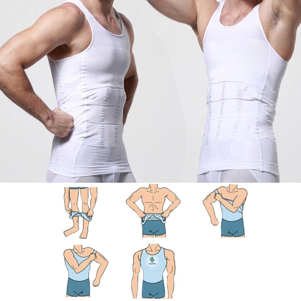 in Posizione Verticale e Camminare Maschile iMage Camicia Dimagrante Body Shaper per Gli Uomini Bianco Camicia di Compressione Riduce Il Ventre e Il Seno