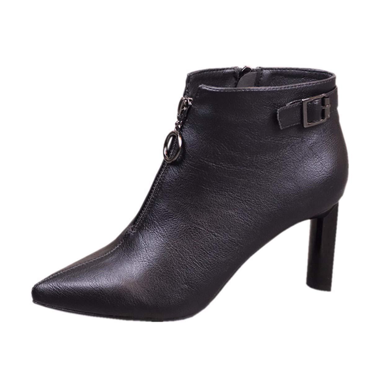 LBTSQ Damenschuhe Schwarz Stiefel Heel 7 cm Spitze Dicke Sohle Sohle Sohle Gürtel Mode Reißverschluss Stiefel f04d42
