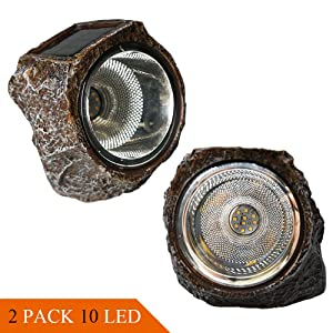SunKite Solar Powered Rock Light, 2 Pack 10 LED Waterproof Garden Stone Lights Outdoor Landscaping Spotlights, Yard Patio Pathway Driveway Landscape Rock