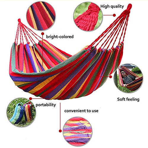 Two Person Hammock Cotton Rope Outdoor Swing Fabric Camping Hanging Canvas Bed - Bed Signed Photo