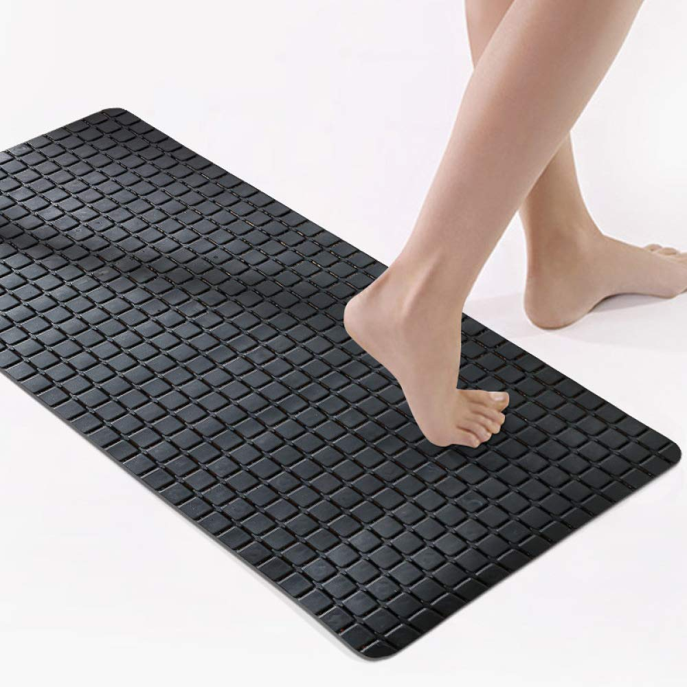 PLLP Square Bathroom Mat, PVC Strong Suction Pad, Bath Shower Mat, Japanese Solid Color Mat,Black,78x35cm