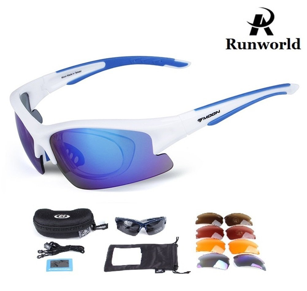 Runworld Polarized Sports Sunglasses with 5 Interchangeable Lenses Cycling Glasses