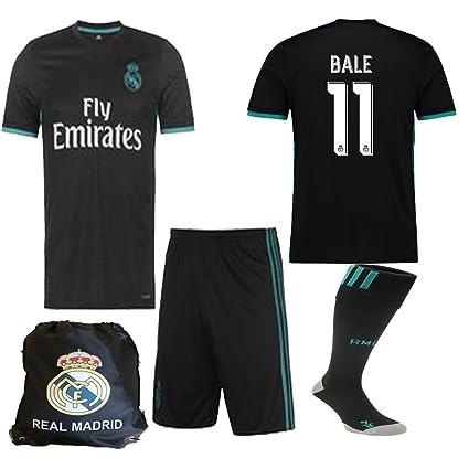 official photos 0dca0 10800 Real Madrid NB Ronaldo Bale Benzema Ramos 2017 2018 17 18 Kid Youth Replica  Away Jersey Kit : Shirt, Short, Socks, Bag