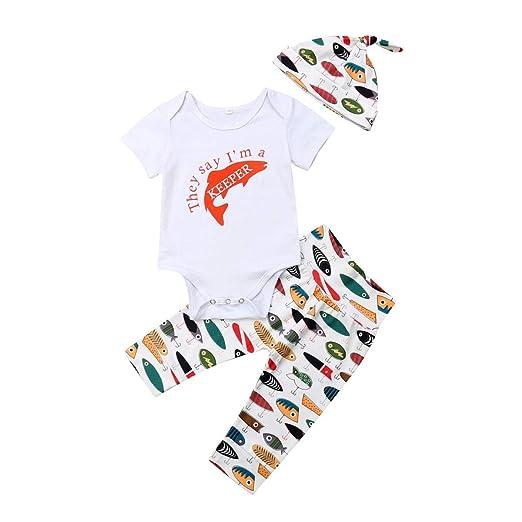 dc77e6747130 Amazon.com: Summer Newborn Kids Clothing Baby Girls Cute Fish Romper  Jumpsuit Bodysuit Top+Pants Leggings Hats Outfits Clothes Set: Clothing