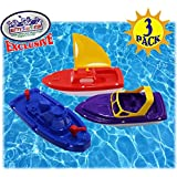 Matty's Toy Stop Plastic Boats Set Sailboat (Red), Speedboat (Purple) & Fireboat (Blue) Gift Set Bundle, Perfect Bath, Pool, Beach Etc. - 3 Pack