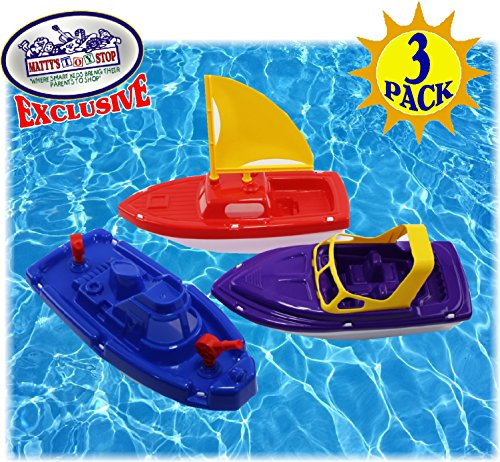 Matty's Toy Stop Plastic Boats Set Sailboat (Red), Speedboat (Purple) & Fireboat (Blue) Gift Set Bundle, Perfect Bath, Pool, Beach Etc. - 3 Pack by Matty's Toy Stop