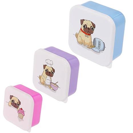 Divertido diseño de perro Pug conjunto de 3 cajas de almuerzo de necesidad de un práctico