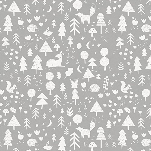 Amazon Carousel Designs Icy Mint And Silver Gray Baby Woodland Fabric By The Yard