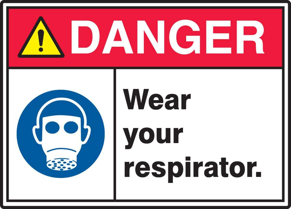 Accuform MRPE111XT Dura-Plastic Sign Red//Black//Blue//Yellow on White LegendDanger WEAR Your Respirator 7 Length x 10 Width x 0.060 Thickness