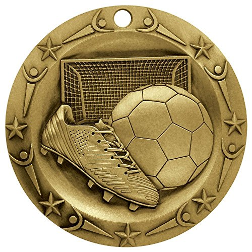 Decade Awards Soccer World Class Gold Die Cast Medal with Red, white & blue v-neck ribbon (Medals And Ribbons)