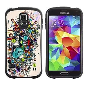 Hybrid Anti-Shock Bumper Case for Samsung Galaxy S5 / Colorful Art Pattern