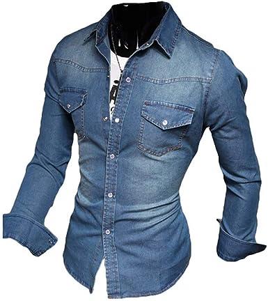 Camisas De Ocio Camisa Slim Fit para Mezclilla Camisa De Hombre para Cómodo Hombre Abrasión Top Vaqueros Azules Tops Camisa De Manga Larga Negro Azul Claro Azul Oscuro M 5XL: Amazon.es: Ropa