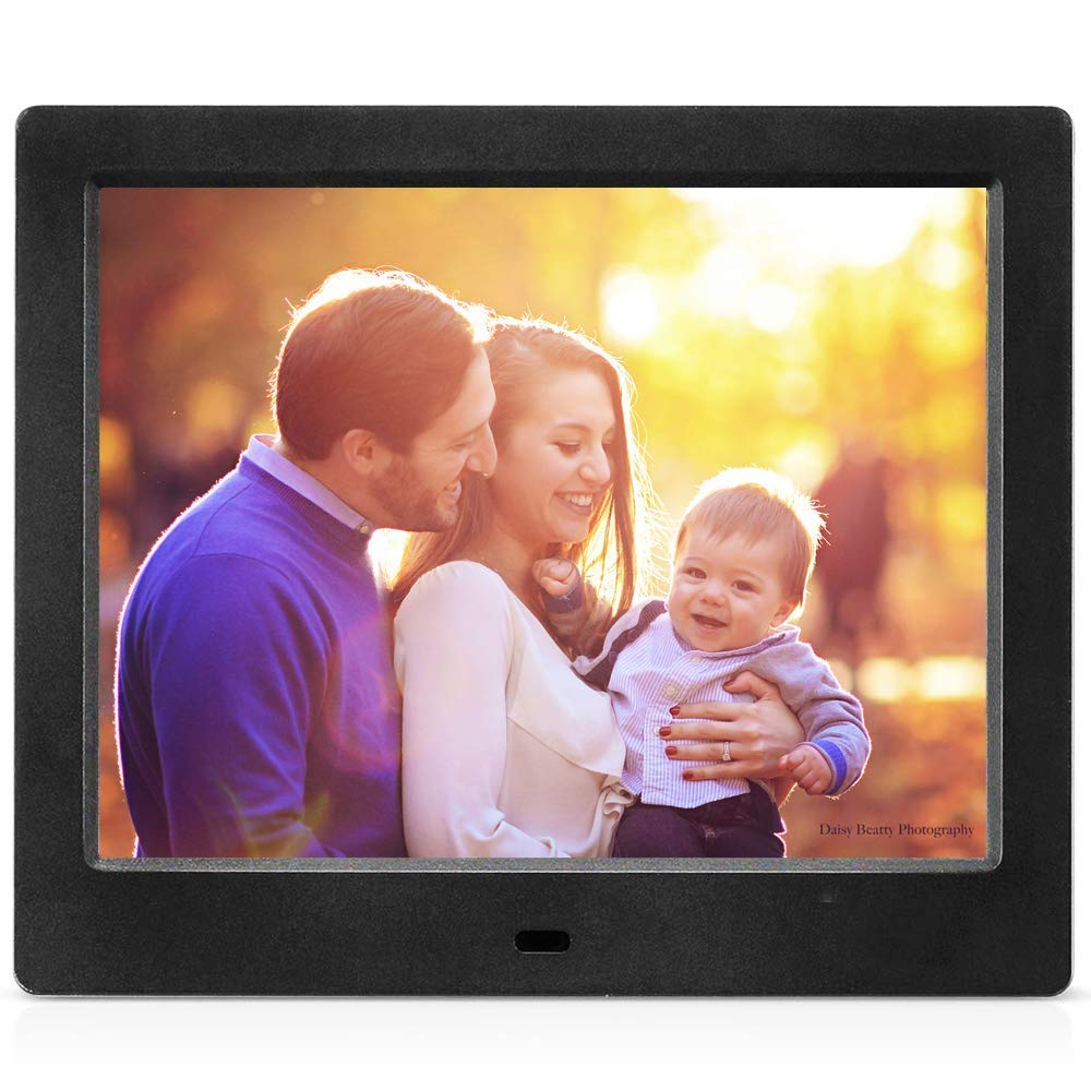MRQ 8 Inch Digital Photo Frame Display Photos with Background Music 1080P Video, Digital Picture Frame with HD IPS 180 Degree 4:3 Wide Viewing Angle with Remote Control, Support USB SD Solt Black by MRQ