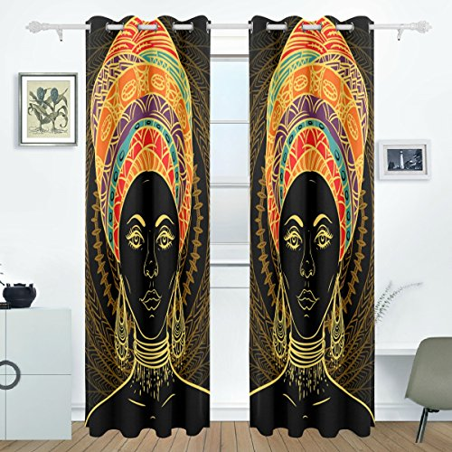 DEYYA African Art Women Curtains Drapes Panels Darkening Blackout Grommet Room Divider for Patio Window Sliding Glass Door 55x84 Inches,2 Panels (Sided Single Room Divider)
