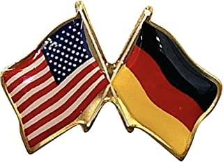 product image for Gettysburg Flag Works Germany & U.S. Crossed Flags Double Waving Friendship Lapel Pin - Made in The USA