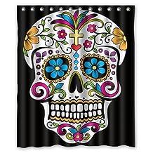 Custom Waterproof Bathroom Sugar Skull T Shower Curtain Polyester Fabric Shower Curtain Size 60 X 72