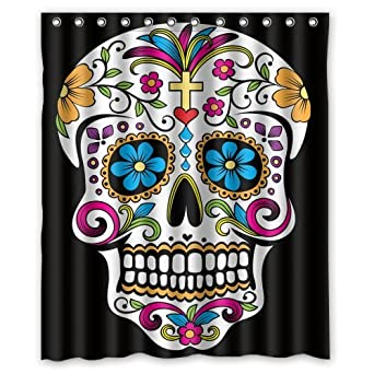 CozyBath Dia De Los Muertos Waterproof Polyester Fabric 60w x 72h Shower Curtain and Hooks