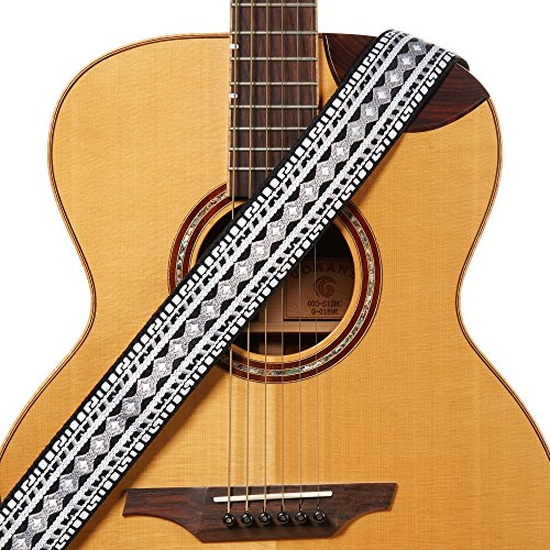 - Amumu Hootenanny Embroidery Guitar Strap Black White Cotton for Acoustic, Electric and Bass Guitars with Strap Blocks & Headstock Strap Tie - 2