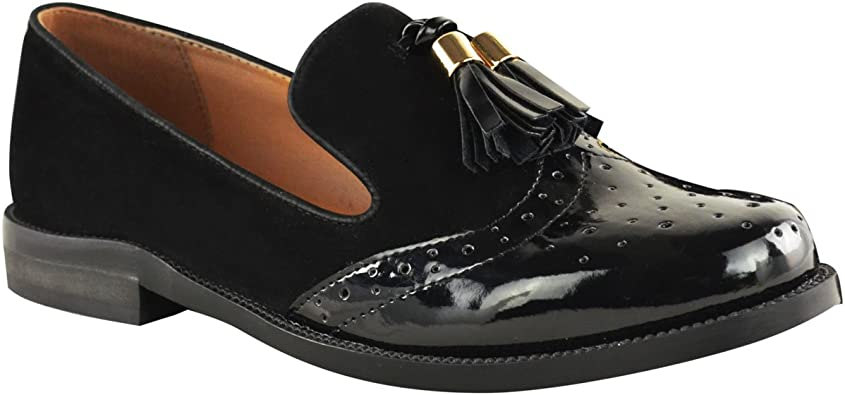 Fashion Thirsty Womens Flat Casual Brogues Office Fringe Tassel Loafers Dress School Shoes Size