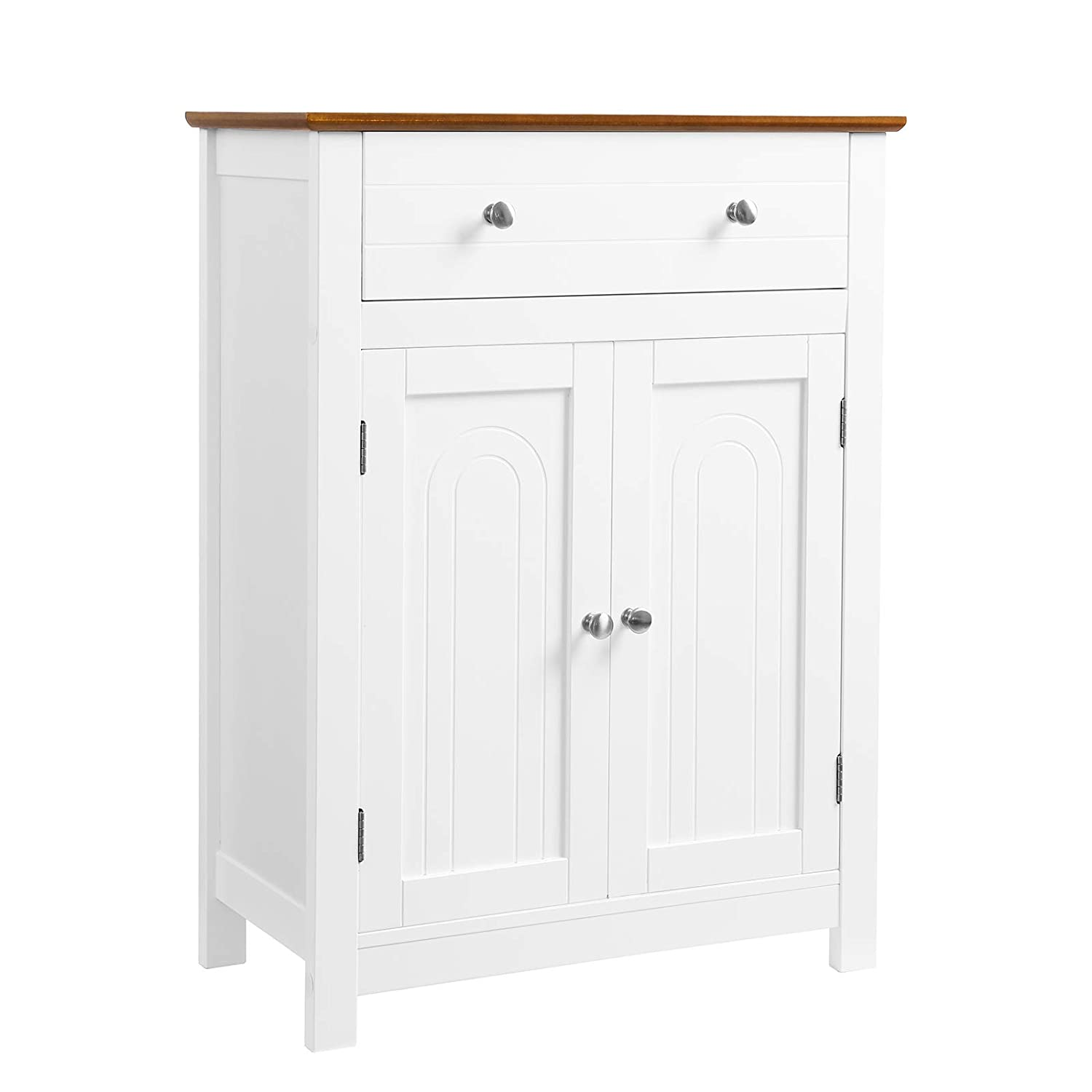 "VASAGLE Free Standing Bathroom Storage Cabinet with Drawer and Adjustable Shelf, Kitchen Cupboard, Wooden Entryway Floor Cabinet, 23.6"" L x 11.8"" W x 31.5"" H, White, Brown UBBC62WT"