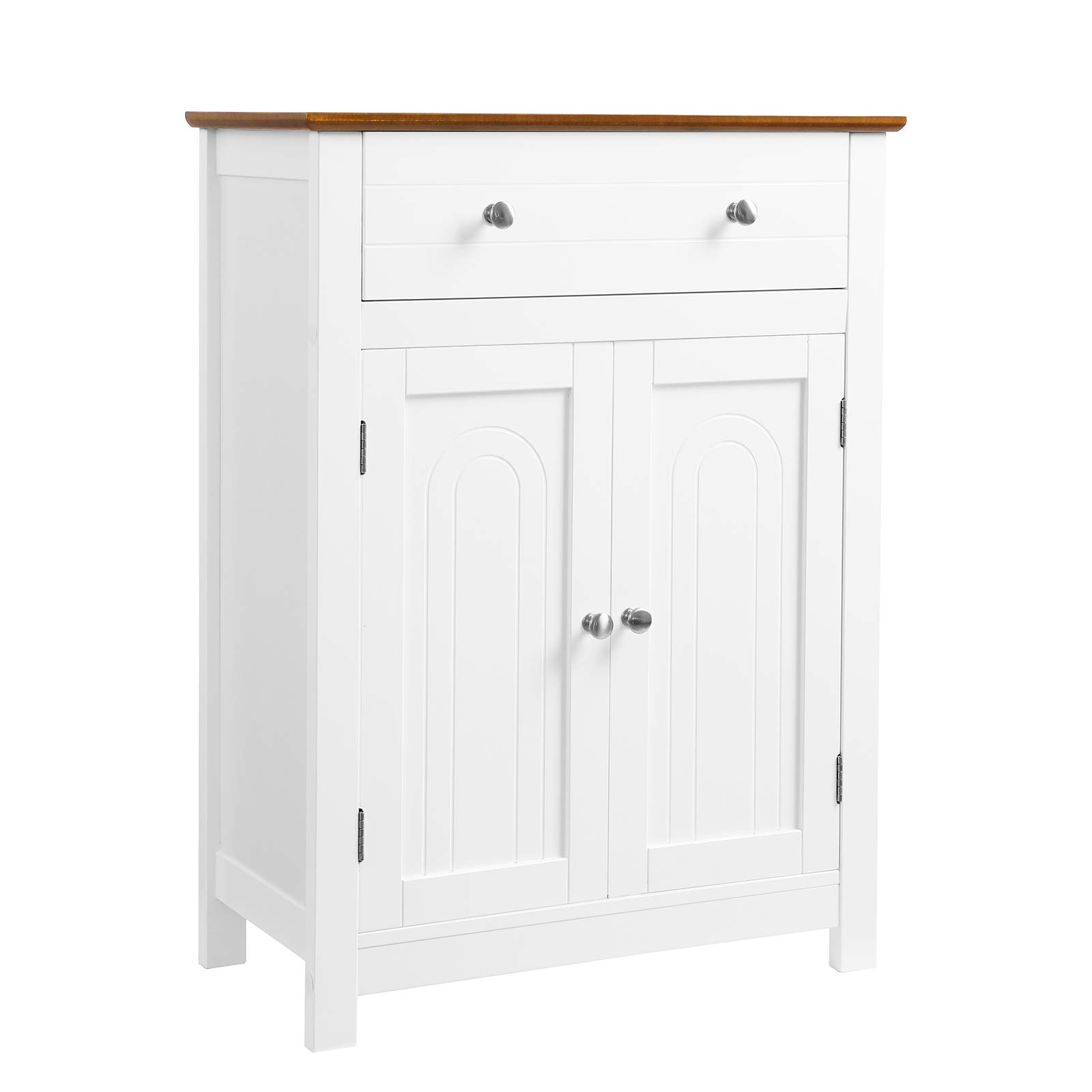 VASAGLE Free Standing Bathroom Storage Cabinet with Drawer and Adjustable Shelf, Kitchen Cupboard, Wooden Entryway Floor Cabinet, 23.6 x 11.8 x 31.5 Inches, White & Brown UBBC62WT by VASAGLE