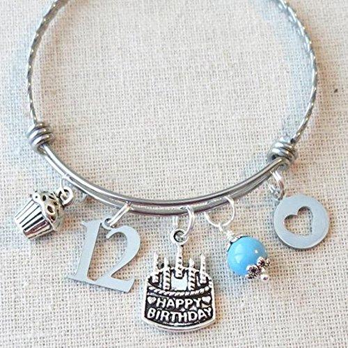 12th BIRTHDAY GIRL Birthday Charm Bracelet Daughter Granddaughter Gift Ideas Girls Twelfth
