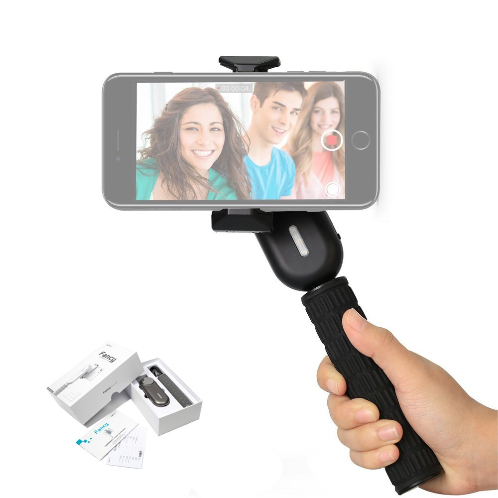 Wewow Fancy 1 Axis Handheld Gimbal Smartphone Stabilizer with detachable handle for Travelling Portrait Vedio Shooting - Black