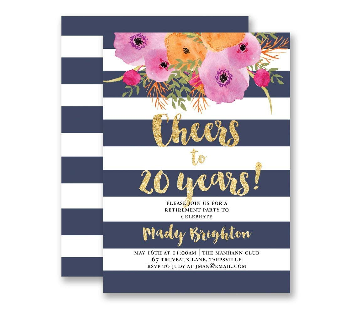 Retirement Party Invitation Navy Blue Stripe Cheers To Years Navy /& Gold Glitter Look Modern Contemporary Customized Party Invites Mady style