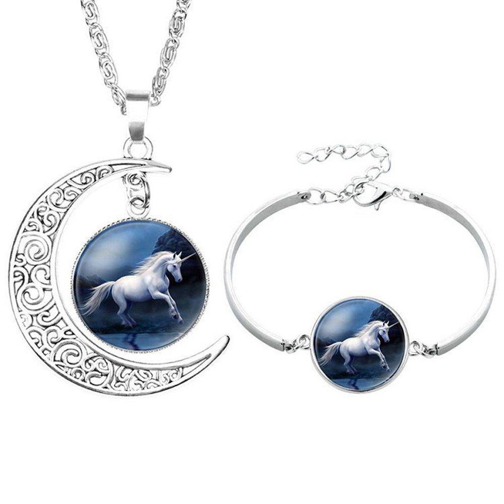 Livecity Elegant Glass Cabochon Moon Pendant Unicorn Necklace Bracelet Bangle Jewelry Set (2#)