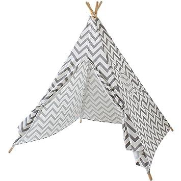 super popular f4546 bb150 Lebze Kids Teepee Tent for Boys & Girls - Grey Chevron ...