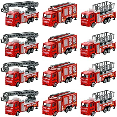 12 Piece Diecast Fire Truck Toys Set Rescue Emergency Vehicles - Extending  Ladder Truck, Fire Engine, Lift Truck - Ideal Gifts, Party Favors for Kids