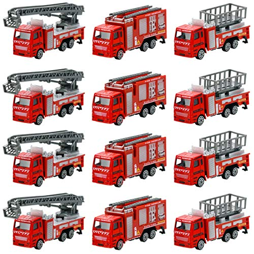 12 Piece Diecast Fire Truck Toys Set Rescue Emergency Vehicles - Extending Ladder Truck, Fire Engine, Lift Truck - Ideal Gifts, Party Favors for Kids (1 Dozen)