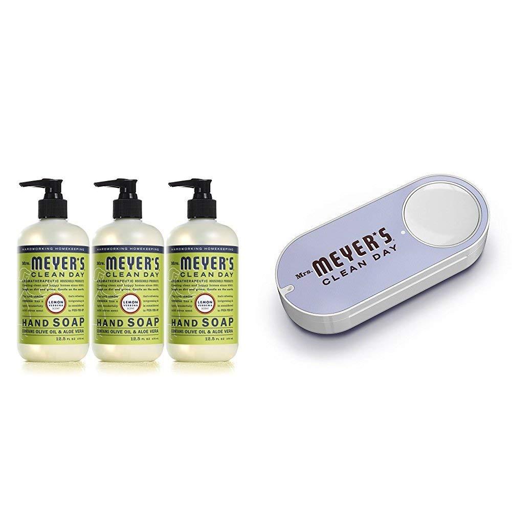 Mrs. Meyer´s Clean Day Hand Soap, Lemon Verbena, 12.5 fl oz, 3 ct + Mrs. Meyers Dash Button