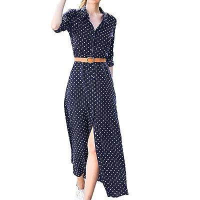 99native Damen Frühling und Herbst Langarm Polka Dot Print Kleid, Gürtel Stehkragen Schlanke Elegante Damen Party Abendkleid Urlaub Kleid
